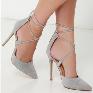 Suede lace up heels 👠